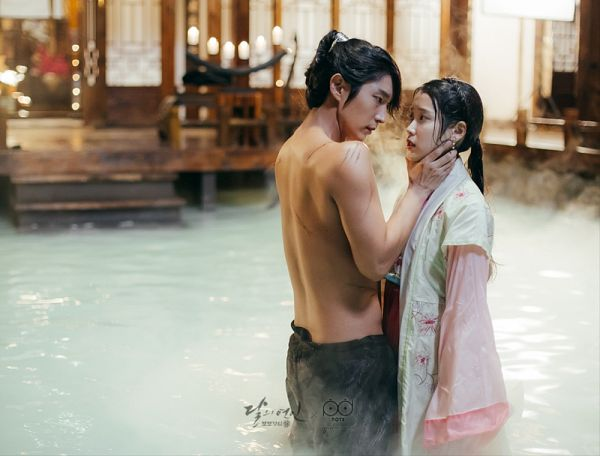 Tags: K-Pop, K-Drama, Lee Jun-ki, IU, Hand On Neck, Korean Clothes, Stairs, Shirtless (Male), Water, Duo, Hair Up, Candle