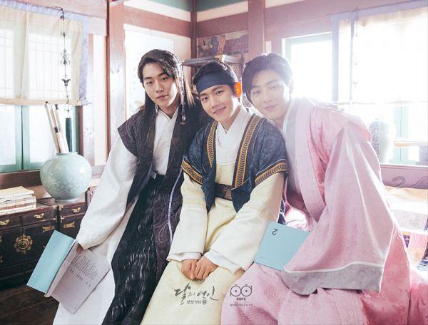 Tags: K-Drama, K-Pop, EXO, Byun Baekhyun, Nam Joo-hyuk, Ji Soo, Three Males, Trio, Pink Outfit, Open Book, Traditional Clothes, Korean Clothes