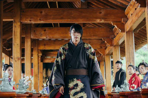 Tags: K-Drama, Kim San-ho, Lee Jun-ki, Kim Sung-kyun, Kang Ha-neul, Kang Han-na, Traditional Clothes, Table, Korean Clothes, Walking, Black Outfit, Teapot