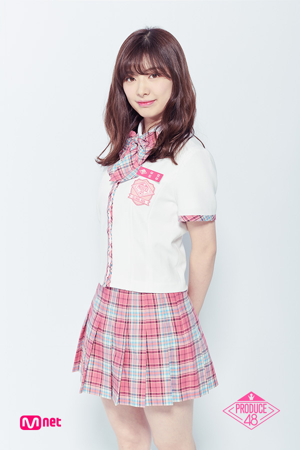 Tags: J-Pop, Television Show, AKB48, Mutou Tomu, Checkered Neckwear, Blunt Bangs, White Outerwear, Text: Series Name, Light Background, Text: Artist Name, Pink Skirt, Arms Behind Back