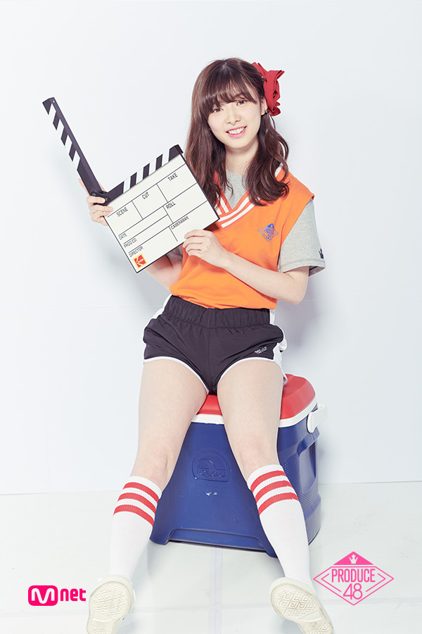 Tags: Television Show, J-Pop, AKB48, Mutou Tomu, Hair Clip, Light Background, Black Shorts, Shorts, Short Sleeves, Text: Series Name, White Background, Sweater