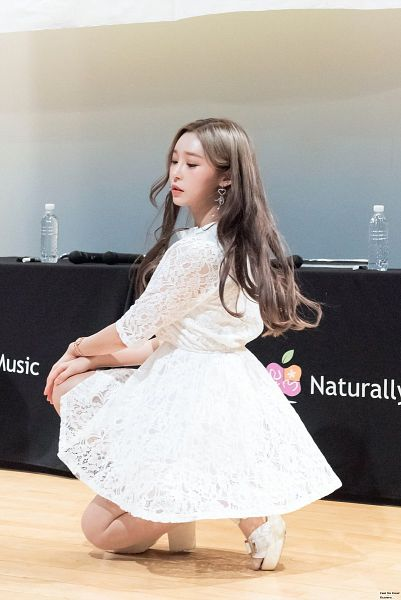 Tags: K-Pop, Busters, Myeong Hyeongseo, Table, Sandals, Blonde Hair, Serious, Looking Down, White Dress, White Footwear, Bottle, Kneeling