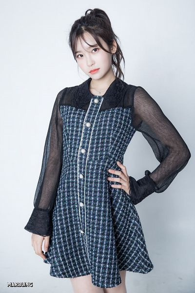 Tags: K-Pop, Busters, Myeong Hyeongseo, Ring, Gradient Background, Black Eyes, Hand On Hip, Blue Dress, Necklace, Nail Polish, Hair Up, Blue Outfit