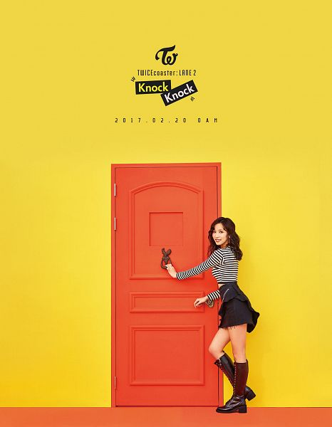 Tags: JYP Entertainment, K-Pop, Twice, Myoui Mina, Yellow Background, Text: Calendar Date, Text: Song Title, Text: Artist Name, Door, Android/iPhone Wallpaper, Twicecoaster: Lane 2