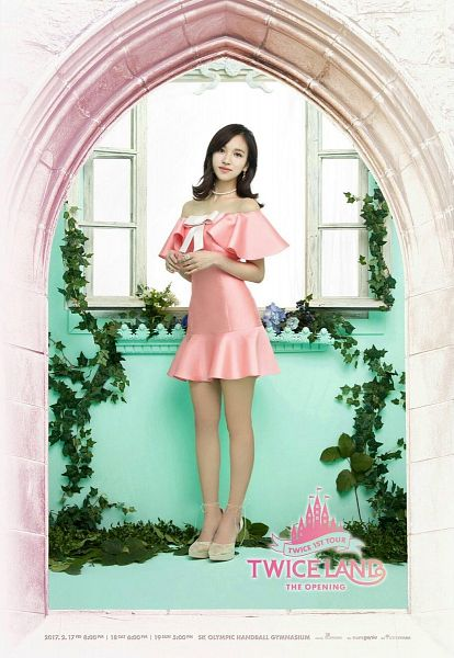 Tags: JYP Entertainment, K-Pop, Twice, Myoui Mina, Text: Artist Name, Pink Outfit, High Heels, Bare Shoulders, Window, Pink Dress, Bow, Blue Background