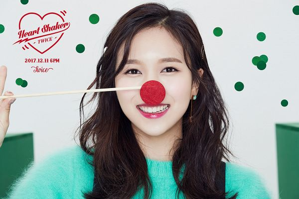 Tags: JYP Entertainment, K-Pop, Twice, Myoui Mina, Earrings, Green Shirt, Text: Song Title, Red Lips, Light Background, Text: Calendar Date, White Background, Text: Artist Name
