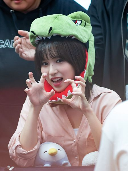 Tags: JYP Entertainment, K-Pop, Twice, Myoui Mina, Arms Up, Stuffed Animal, Blunt Bangs, Hat, Stuffed Toy, Pink Shirt, Fansigning Event