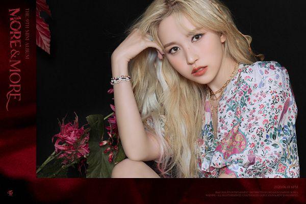 Tags: K-Pop, Twice, Myoui Mina, Flower, Red Flower, Hand In Hair, Dark Background, White Dress, Floral Print, Black Background, Necklace, Floral Dress