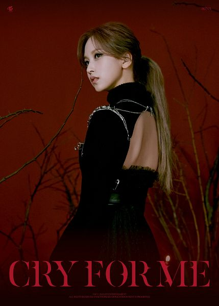 Tags: K-Pop, Twice, Cry For Me, Myoui Mina, Ponytail, Text: Artist Name, Black Outfit, Black Dress, Bare Legs, Red Background, Text: Company Name, Looking Away