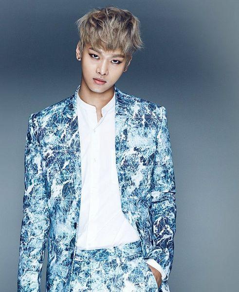Tags: K-Pop, VIXX, N (singer), Blue Outerwear, Hand In Pocket, Blue Jacket, Blue Pants, Gray Background