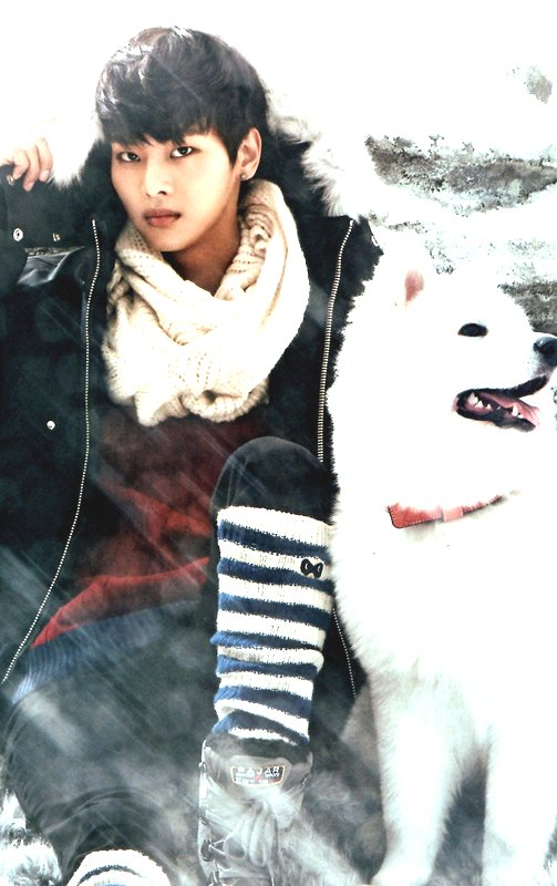 Tags: K-Pop, VIXX, N (singer), Dog, Red Shirt, White Neckwear, Shoes, Sweater, Black Pants, Boots, Scarf, Black Jacket