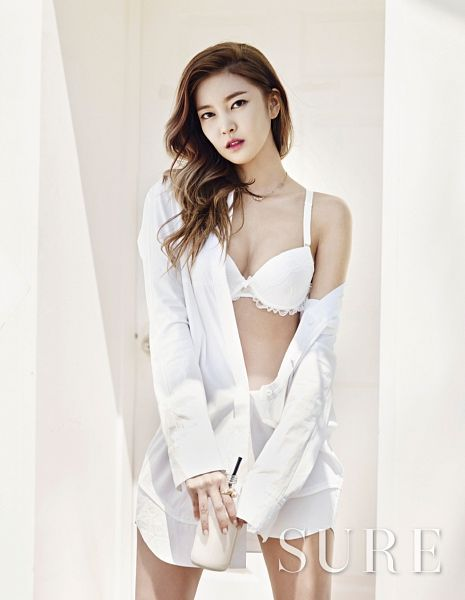Tags: K-Pop, NS Yoon-G, Lingerie, Text: Magazine Name, Bra, Open Shirt, Suggestive, Light Background, White Background, Bare Legs, Sure, Magazine Scan