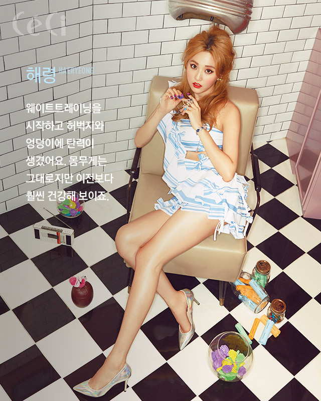 Tags: K-Pop, BESTie, Na Haeryung, Chair, Korean Text, Sitting On Chair, Red Lips, Silver Footwear, Checkered Floor, Text: Magazine Name, Red Hair, From Above