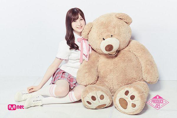 Tags: J-Pop, Television Show, AKB48, Nagano Serika, Checkered, Light Background, Checkered Skirt, Skirt, Pink Skirt, White Background, White Footwear, Text: Series Name