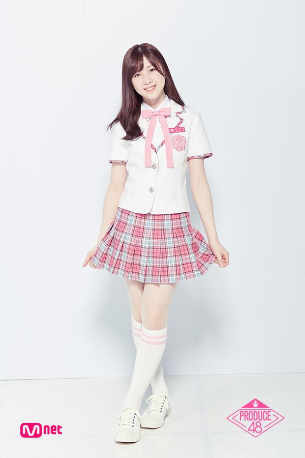 Tags: J-Pop, Television Show, AKB48, Nagano Serika, Text: Series Name, Short Sleeves, Text: Artist Name, Shoes, Korean Text, Pink Neckwear, Sneakers, Checkered Skirt