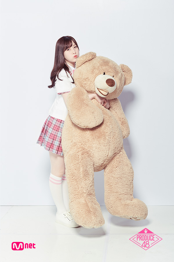 Tags: Television Show, J-Pop, AKB48, Nagano Serika, Light Background, White Footwear, Text: Series Name, Skirt, Short Sleeves, White Background, White Jacket, Stuffed Toy