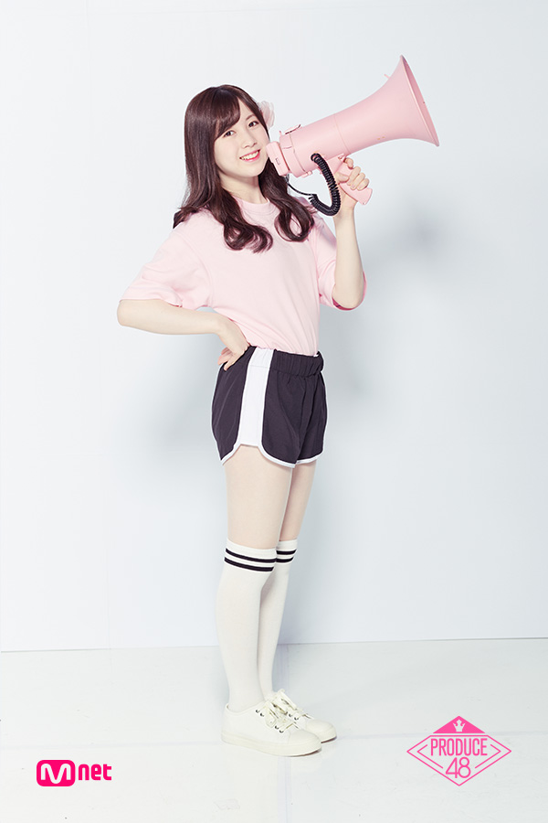 Tags: J-Pop, Television Show, AKB48, Nagano Serika, White Background, White Footwear, Thigh Highs, Short Sleeves, Text: Series Name, Side View, Black Shorts, Sneakers