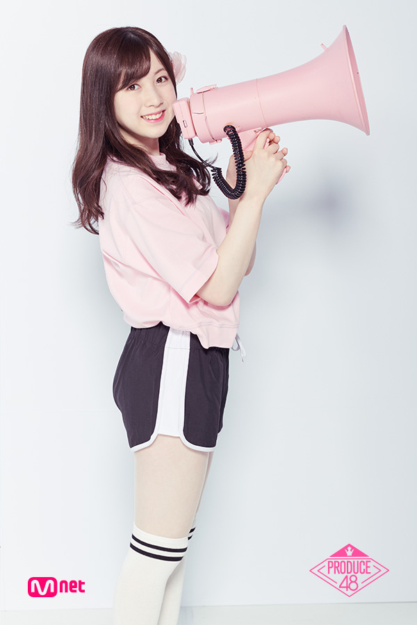 Tags: Television Show, J-Pop, AKB48, Nagano Serika, Thigh Highs, Pink Shirt, Light Background, Hair Clip, White Background, Megaphone, Short Sleeves, Side View