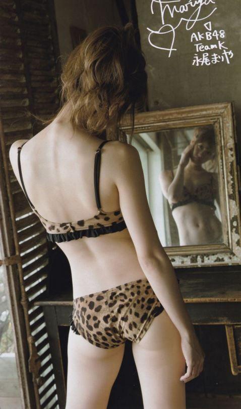 Tags: J-Pop, Nagao Mariya, Text: Artist Name, Lingerie, Back, Medium Hair, Bare Shoulders, Bra, Japanese Text, Butt, Looking At Reflection, Suggestive