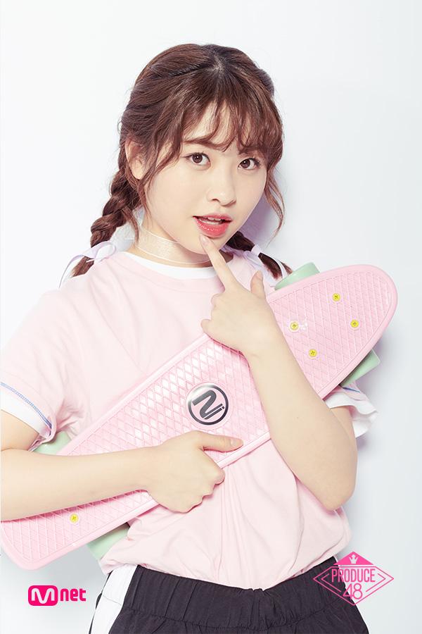 Tags: Television Show, J-Pop, AKB48, Nakanishi Chiyori, Skateboard, Shorts, Pink Shirt, Close Up, Choker, Short Sleeves, Text: Series Name, Blunt Bangs