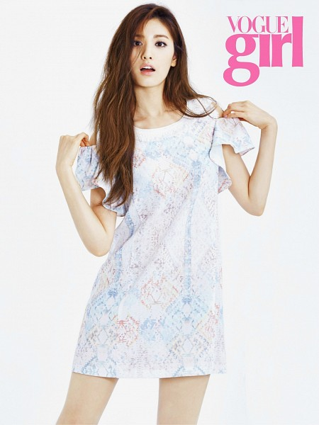 Tags: K-Pop, After School, Nana, Light Background, Text: Magazine Name, White Background, Android/iPhone Wallpaper, VOGUE Girl