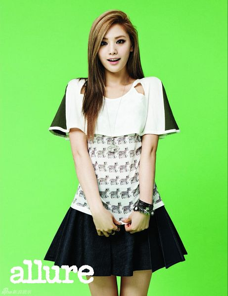 Tags: K-Pop, After School, Nana, Blonde Hair, Green Background, Skirt, Text: Magazine Name, Black Skirt, Allure