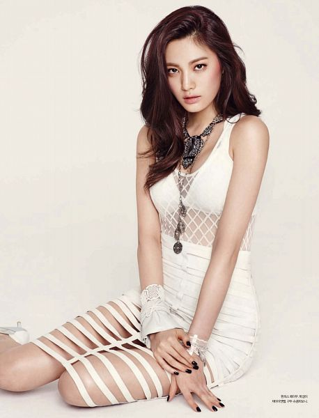 Tags: K-Pop, After School, Nana, Necklace, Sitting On Ground, Lingerie, Brown Background, White Skirt, Bra, Korean Text, See Through Clothes, Magazine Scan