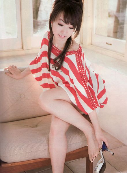 Tags: J-Pop, Nana Mizuki, Couch, Looking Down, Sitting On Couch, Striped Dress, High Heels, Red Outfit, Hair Up, Striped, Barefoot, Eyes Half Closed