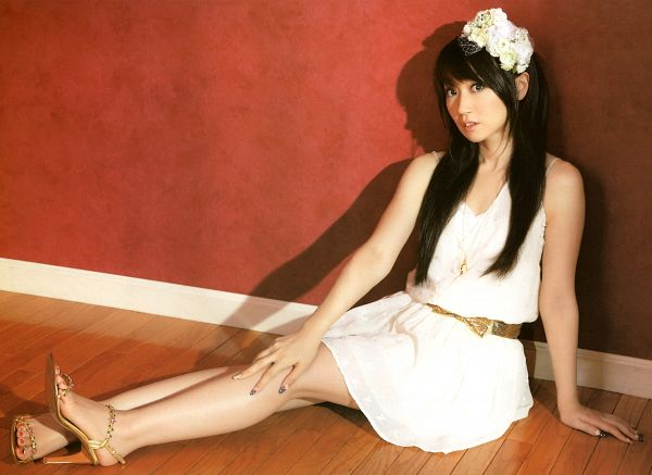 Tags: J-Pop, Nana Mizuki, White Outfit, Brown Background, Shoes, Hand On Knee, Bare Shoulders, Belt, Hand On Leg, Full Body, Bare Legs, High Heels