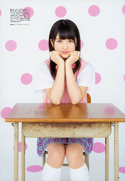 Tags: J-Pop, AKB48, Nana Owada, Table, Chin In Hand, Sitting On Chair, Japanese Text, School Uniform, Chair, Magazine Scan, Scan, Android/iPhone Wallpaper