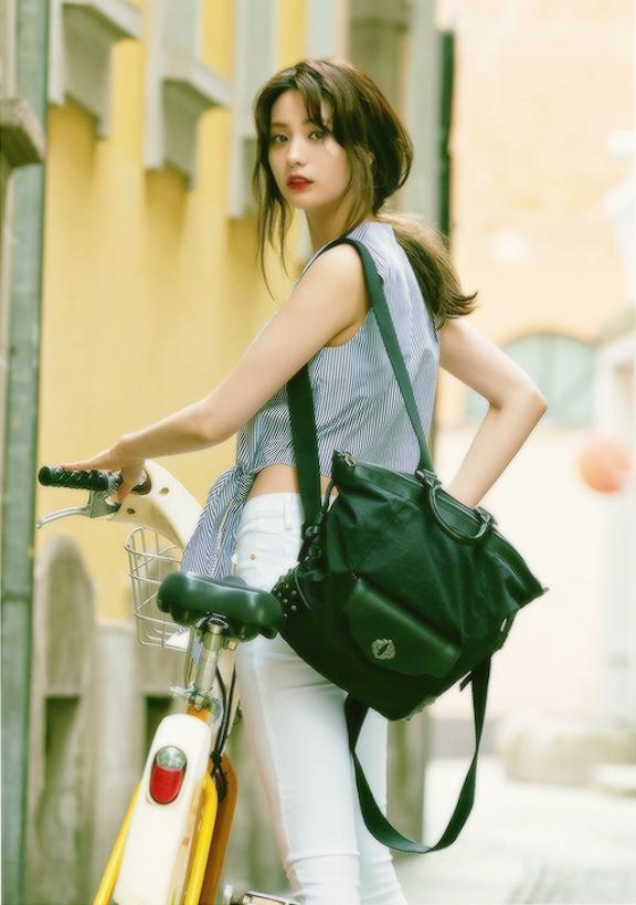 Tags: K-Pop, After School, Nana, White Pants, Purse, Bag, Bicycle, Blue Shirt