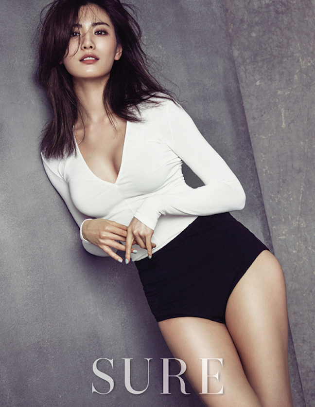 Tags: K-Pop, After School, Nana, Gray Background, Black Pants, Leaning On Wall, Leaning Back, Sure, Magazine Scan
