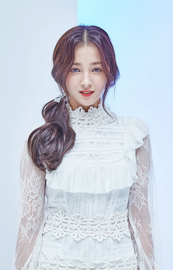 Tags: K-Pop, Momoland, Nancy, White Outfit, White Dress, Gray Background, Blue Background, Android/iPhone Wallpaper
