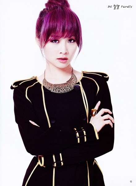 Tags: K-Pop, KARA, Nicole Jung, Hair Up, Necklace, Light Background, Crossed Arms, White Background, Black Outfit, Ring, Purple Hair, Black Dress