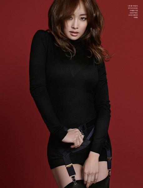 Tags: K-Pop, KARA, Nicole Jung, Garter Belt, No Background, Korean Text, Thigh Highs, Android/iPhone Wallpaper