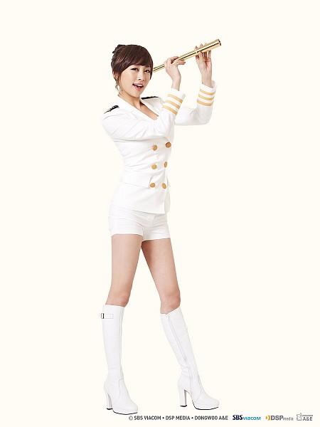 Tags: K-Pop, KARA, Nicole Jung, Boots, Shorts, Uniform, Telescope, High Heels, No Background
