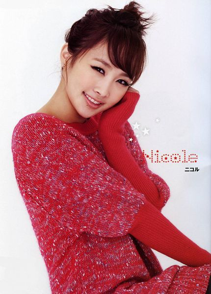 Tags: K-Pop, KARA, Nicole Jung, Sweater, Hand On Cheek, Red Outfit, Light Background, Red Dress, White Background, Text: Artist Name, Hand On Head, Hair Up