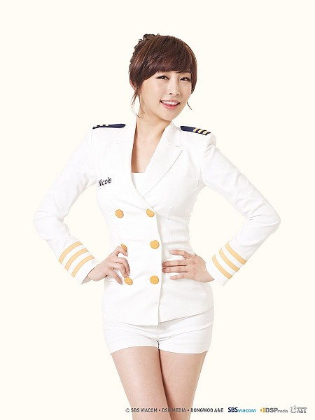Tags: K-Pop, KARA, Nicole Jung, Bare Legs, White Background, White Shorts, Hand On Hip, White Jacket, Shorts, Uniform, White Outerwear, Light Background