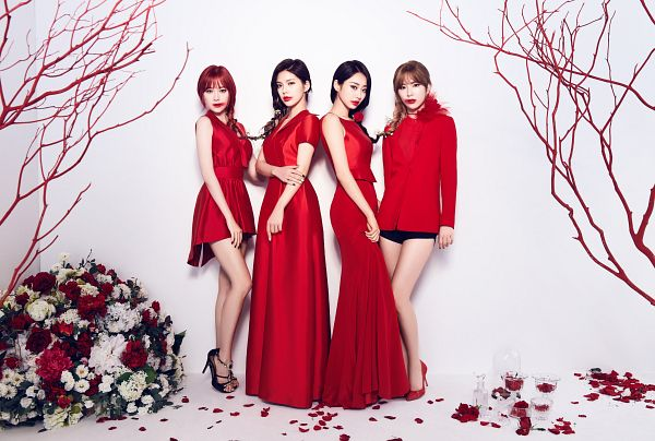 Tags: K-Pop, Nine Muses, Lee Keumjo, Jo Sojin, Gyeongree, Pyo Hyemi, High Heels, Full Group, Four Girls, Bare Shoulders, Flower, Blunt Bangs