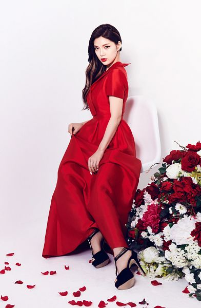 Tags: K-Pop, Nine Muses, Jo Sojin, White Background, Flower, Short Sleeves, Full Body, Red Dress, Sitting On Chair, Black Footwear, High Heels, Red Outfit