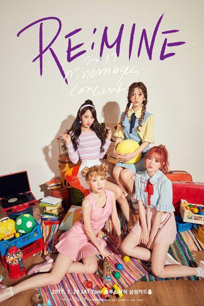 Tags: K-Pop, Nine Muses, Jo Sojin, Gyeongree, Pyo Hyemi, Lee Keumjo, Pink Outfit, Bare Legs, Red Hair, Braids, Sitting On Ground, Hair Up