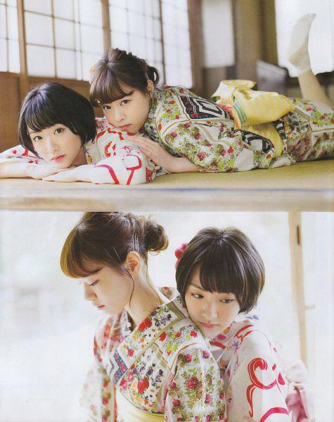 Tags: J-Pop, Nogizaka46, Nanase Nishino, Ikoma Rina, Duo, Kimono, Traditional Clothes, Holding Close, Two Girls, Hug, Hug From Behind, Magazine Scan
