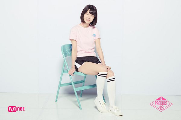 Tags: Television Show, J-Pop, AKB48, Oda Erina, Light Background, Knee Socks, Shorts, Pink Shirt, White Background, White Footwear, Chair, Short Sleeves