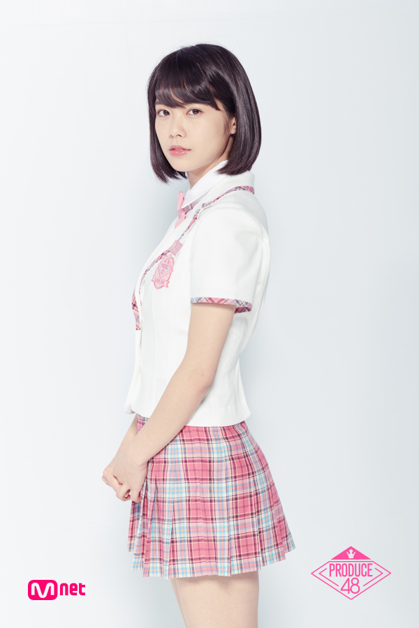 Tags: J-Pop, Television Show, AKB48, Oda Erina, Text: Series Name, Blunt Bangs, Uniform, Pink Neckwear, Light Background, Checkered Skirt, Skirt, Pink Skirt