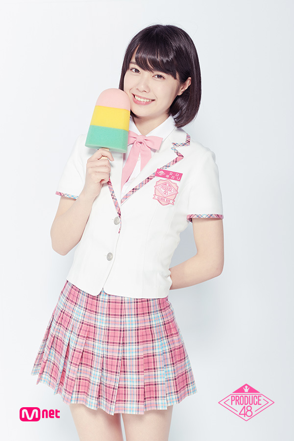 Tags: J-Pop, Television Show, AKB48, Oda Erina, White Background, Korean Text, Text: Series Name, Holding Object, White Outerwear, School Uniform, Collar (Clothes), Pink Neckwear