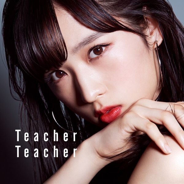 Tags: J-Pop, AKB48, Teacher Teacher, Oguri Yui, Text: Album Name, Close Up, English Text, Blunt Bangs, Red Lips, Text: Song Title, Chin In Hand, Album Cover