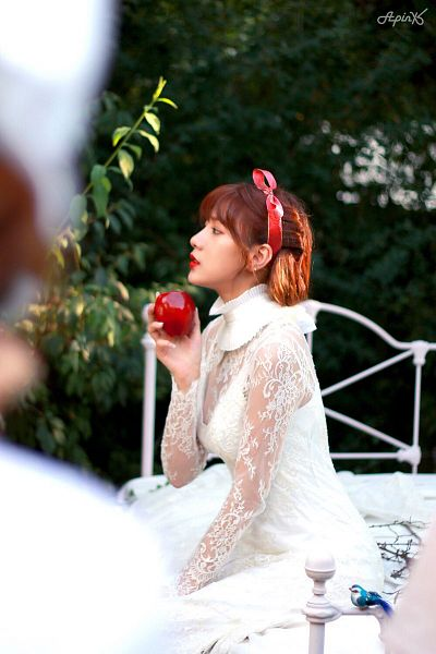Tags: K-Pop, Apink, Oh Ha-young, Bow, Hair Bow, Fruits, Apple, Red Lips, White Dress, Bed, Hair Ornament, On Bed