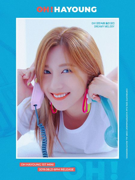 Tags: K-Pop, Apink, Oh Ha-young, Laying On Stomach, Arm Support, Laying Down, Text: Artist Name, Korean Text, Red Hair, Text: Album Name, Blue Background, Phone