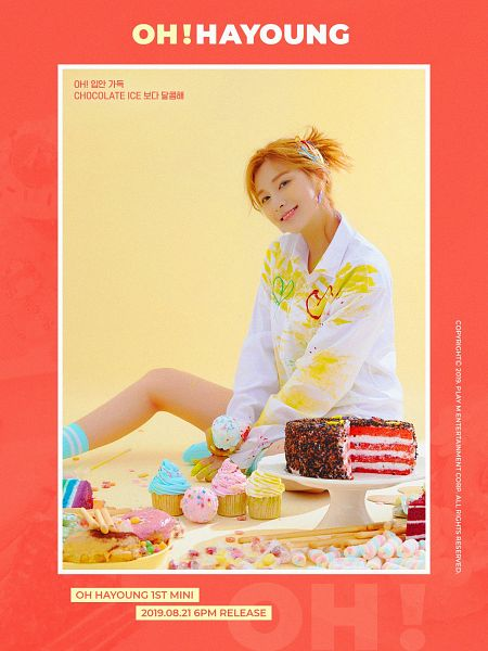 Tags: K-Pop, Apink, Oh Ha-young, Red Hair, Text: Album Name, Red Background, English Text, Sweets, Cake, Cupcake, Text: Artist Name, Korean Text
