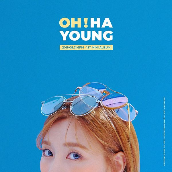 Tags: K-Pop, Apink, Oh Ha-young, Glasses, Text: Artist Name, Glasses On Head, Blue Eyes, Blue Background, Text: Album Name, Glasses Off, English Text, Text: Calendar Date